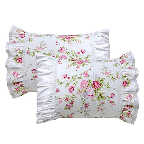 Pillowcase Standard Lace (FADFAY Shabby Pink Rose Floral Print Pillowcases Elegant Country Style Vintage Lace Ruffles Bedding Pillow Covers Standared Size 19