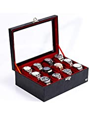 Porta-Relógios Total Luxo Couro Ecológico Preto Vermelho 12 Divisórias Maiores (3x4)