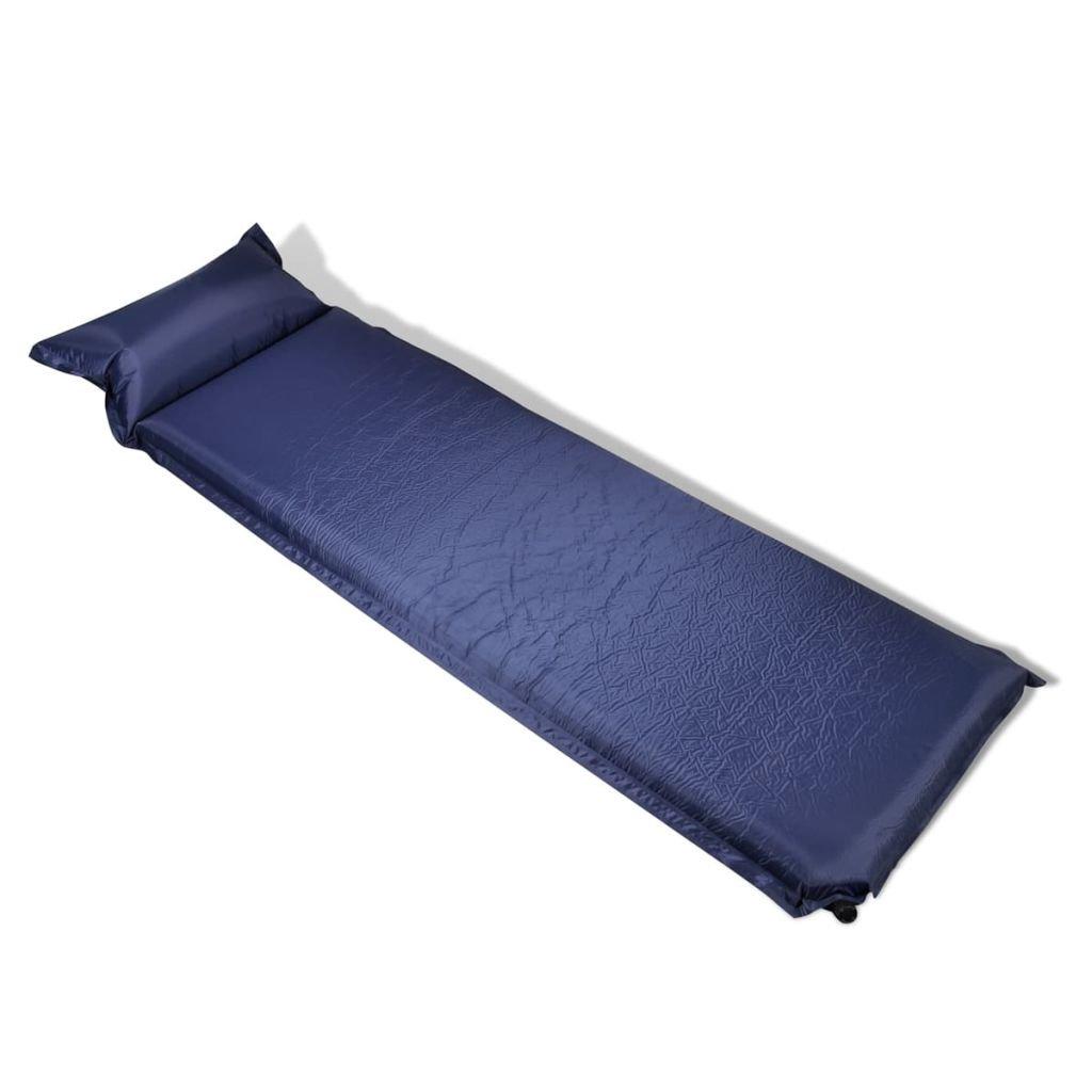 Lingjiushopping Matratze selbstaufblasend mit Kissen 10 x 66 x 200 cm blau Maße: 66 x 200 cm Farbe: blau
