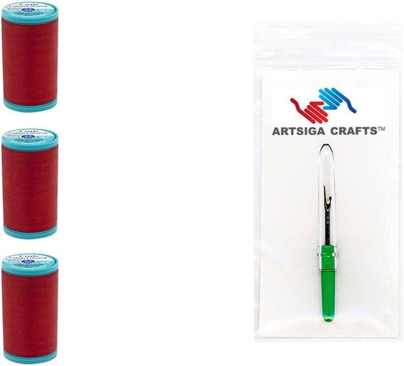 3-Pack Coats /& Clark Sewing Thread Bold Hand Quilting Cotton Thread 175 Yards Shark Skin Bundle with 1 Artsiga Crafts Seam Ripper S922-0780-3P
