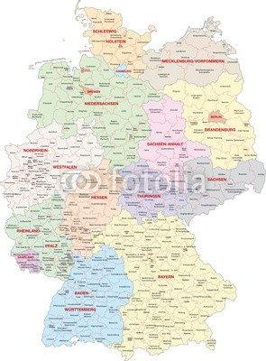 Canvas Image 60 X 80 Cm Deutschland Bundeslander Landkreise