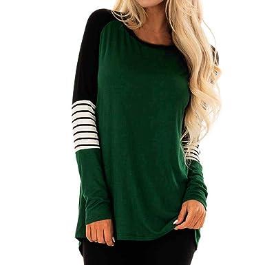 93bf61c0dd3232 NEEKY Frauen T Shirt Sale - Damen Casual Lose O-Neck Striped Langarm  Sweatshirt Tops