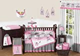 Sweet Jojo Designs 9-Piece Pink, Black and White Stripe Paris Baby Girl Bedding French Eifell Tower Crib Set
