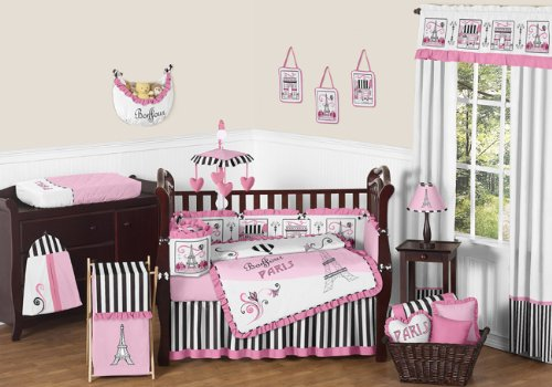 (Sweet Jojo Designs 9-Piece Pink, Black and White Stripe Paris Baby Girl Bedding French Eifell Tower Crib)