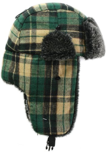 LL Women's Fashion Trooper Trapper Ski Hat - Green Plaid - Large