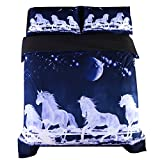 Beddinginn White Horse Bedding 3D Blue Horse Running Duvet Cover Set Moon Print Bed Cover Set No Comforter(Queen)