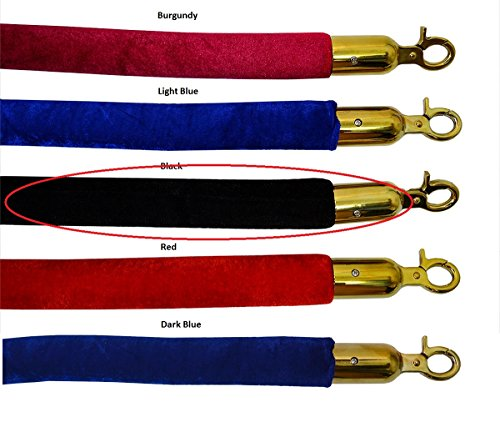 - VIP Crowd Control 1656 72 in. Velour Rope with Gold Closable Hook - Black