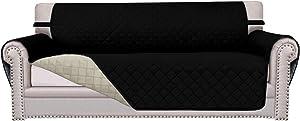 Easy-Going Sofa Slipcover Reversible Sofa Cover Furniture Protector Anti-Slip Foams Couch Cover Water Resistant Elastic Straps PetsKidsChildrenDogCat(Sofa,Black/Beige)