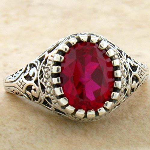 2.5 CT LAB Ruby .925 Sterling Vintage Filigree Style Silver Ring Size 7.75 KN-4616