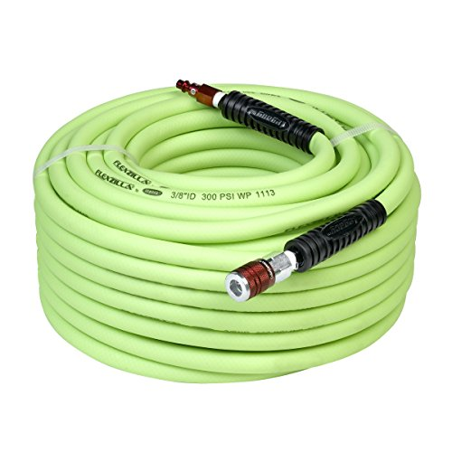 Polyurethane Flexible Air Hose - Flexzilla Air Hose with ColorConnex Industrial Type D Coupler and Plug, 3/8 in. x 100 ft, Heavy Duty, Lightweight, Hybrid, ZillaGreen - HFZ38100YW2-D