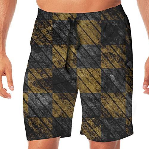(Quick Dry Men's Beach Shorts Yellow Black Plaid Print Swim Trunks Surf Board Pants Pockets M)
