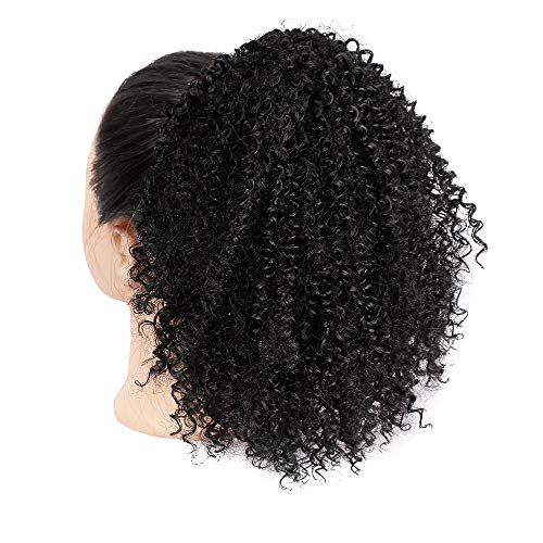 JUSTnowok African black small volume fluffy big hair bag ponytail wig