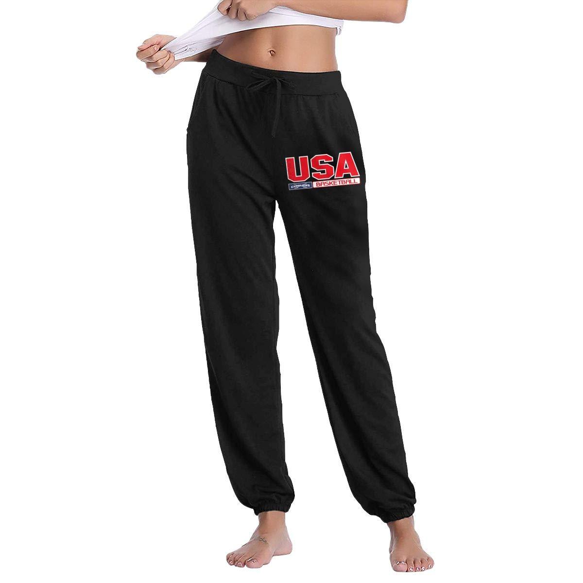Black L GavDon Women's Cleveland CavaliersNavyTeamUSA Casual Sweatpants Yoga Jogger Lounge Sweat Pants with Pockets