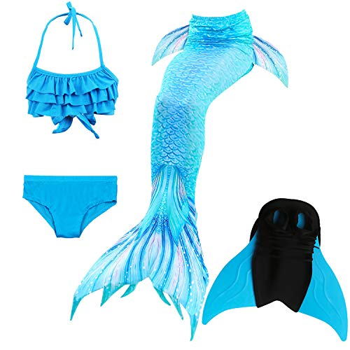 Das beste Girls Mermaid Tail Swimsuit with Monofin Girl's Mermaid Tail for Swimming,Colorful Swimmable Costume Cosplay Princess Swimwear Bikini Set Bathing Suit Set with Mono Fin Four Pcs]()