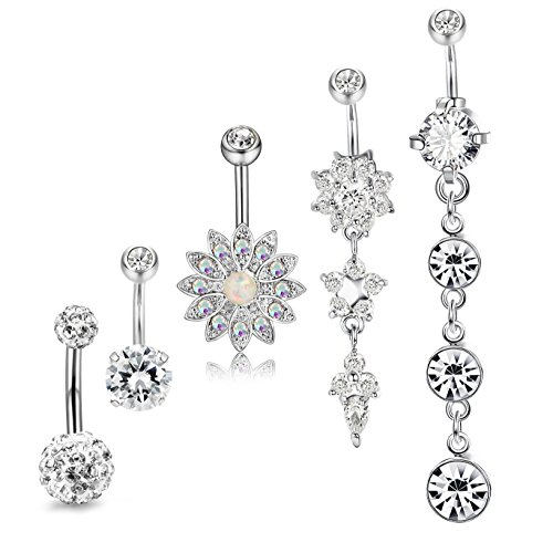 JOERICA 3PCS 14G Stainless Steel Belly Button Rings Navel Body Jewelry Belly Piercing CZ Inlaid (D:5Pcs,Silver-Tone)