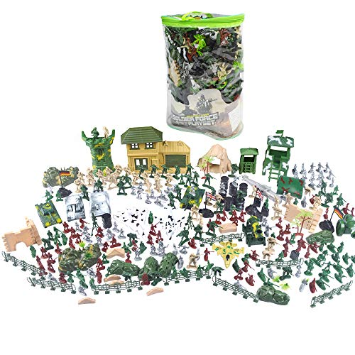 EASYWAY Army Men Playset with Military Vehicles, Accessories and US DE UK Flag with Hand Bag, Plastic Toy Soldiers Set, Army Action Figurine, Tanks, Fighter, Tent, in Over 300 Pieces War Toy Set ()