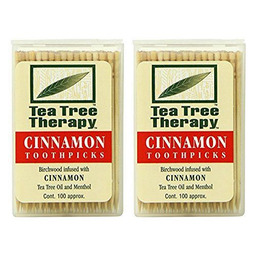 Australian Chewing Sticks (Tea Tree Oil Therapy Toothpicks, Cinnamon, 100 Count)