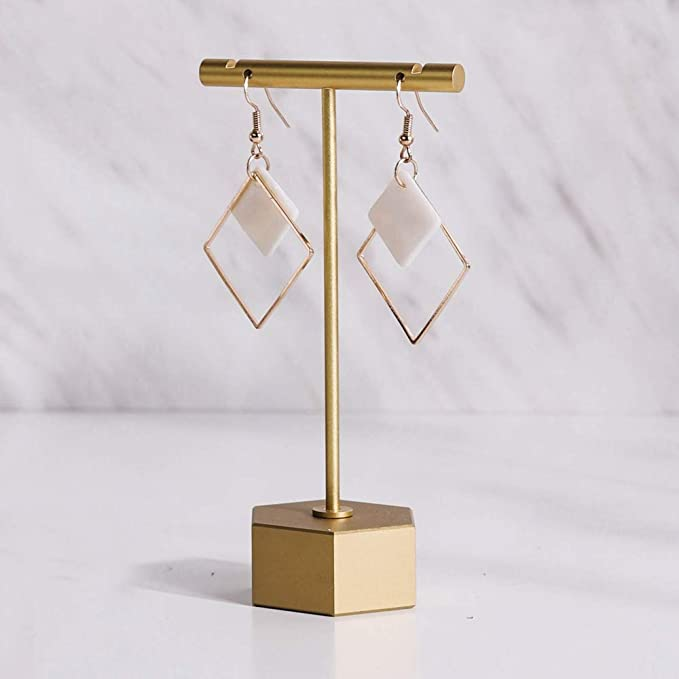 Brass earring display stand 80mm tall drilled for one pair of post earrings