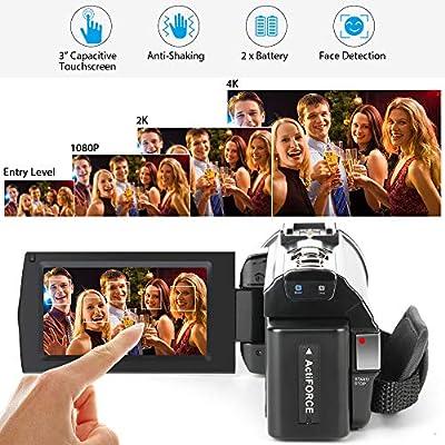 "ACTITOP HDV-UHD-02 Video Camcorder, Video Camera 48MP UHD Wi-Fi Digital 16X Zoom IR Night Vision 3"" IPS and Travel Bag, Black"