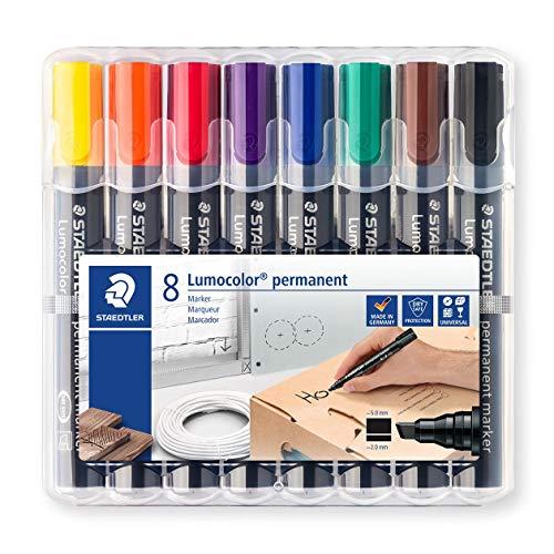 STAEDTLER Lumocolor 350 Wp8 Chisel Tip Permanent Marker - Assorted Colours (Pack Of 8)