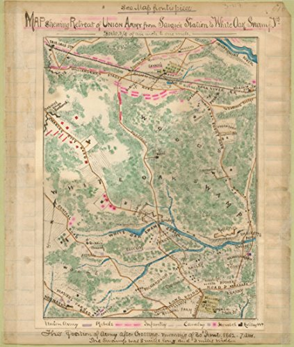 LAMINATED POSTER Map shewing sic retreat of Union Army from