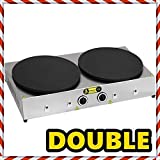 Non-Stick TEFLON COATED DOUBLE COOKER Electric Commercial Crepe Maker Pancake Grill Machine