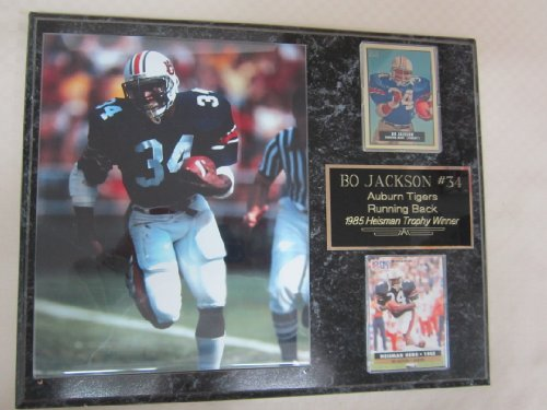 Bo Jackson Auburn Tigers 2 Card Collector Plaque w/8x10 (Auburn Tigers Photo Plaque)