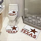 lacencn Texas Star Printed Bath Rug Set Western Culture Motifs with a Quote about Southwest of United States 3 Piece Toilet Cover set Dark Brown and Brown
