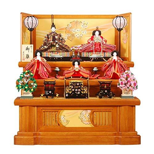雛人形 五人揃三段飾り 【春菜】セット 35号(5人)[幅105cm] 欅消塗[sb-4-56] 雛祭り   B07KVWRQM8