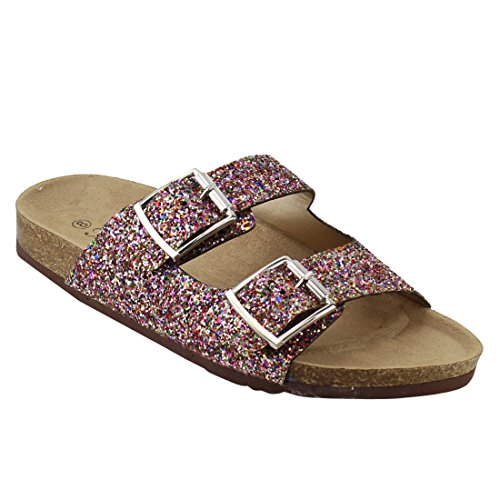 Forever FQ79 Women's Sparkle Glitter Slip On Casual Sandals, Color Multi, (Multi Buckle Sandals)