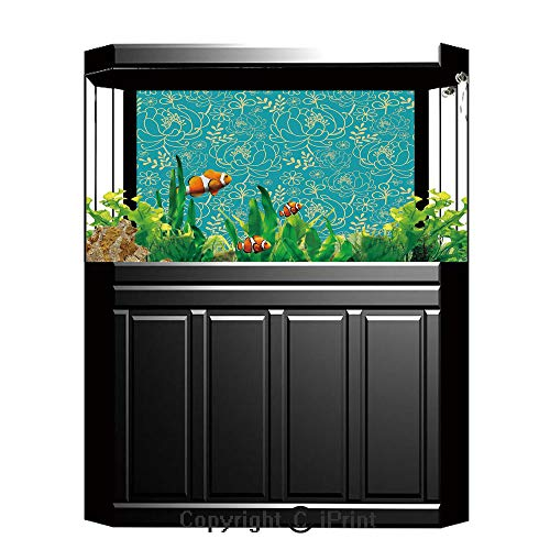 Terrarium Fish Tank Background,Yellow and Blue,Classic Floral Twig Leaves Blooms Petals Essence Flowers Design Decorative,Turquoise Light Yellow,Photography Backdrop for Pictures Party ()