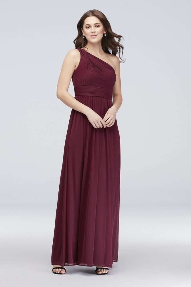 David S Bridal Micro Pleated Mesh One Shoulder Bridesmaid Dress Style W60042 Merlot 14