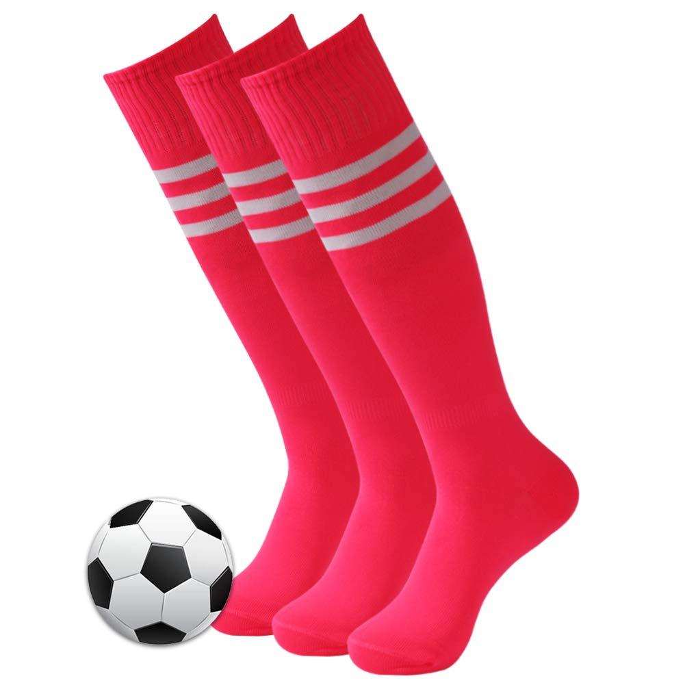 Athletic Soccer Socks, 3street Sport Long Compression Socks Extreme Cushion & Comfy Running Football Baseball School Uniform Socks for Men and Women Fit Basketball,Hiking,Baseball Hot Pink 3 Pair by Three street