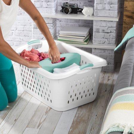 2.2 Bushel Divided Laundry Basket, White, Case of 4