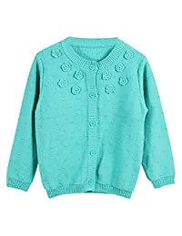 FULL BLESSING Girl 3D Floral Button-up Cardigan Knit Pointelle Sweater 3 Color 5 Size