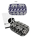 [2 PCS Set], JAVOedge Black and Blue Elephant Print Contact Lens Carrying Case Travel Kit