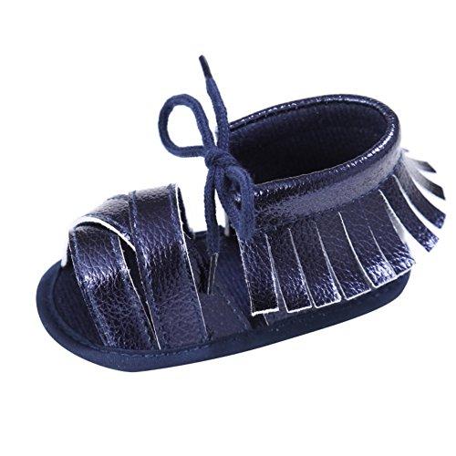 Sandalias De Bebe,BOBORA Prewalker Zapatos Primeros Pasos Para Bebe Andador De Bebe Con Borlas y Zapatos Antideslizante azul