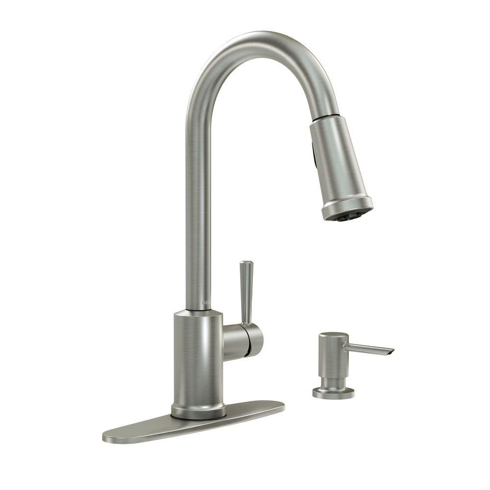 Moen 87090MSRS Indi 1 Handle Pull-Down Kitchen Faucet, Spot Resistant Stainless Microban