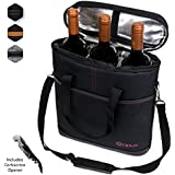 Premium Insulated 3 Bottle Wine Carrier Tote Bag | Wine Travel Bag with Shoulder Strap, Padded Protection, and Corkscrew Opener | Wine Cooler Bag