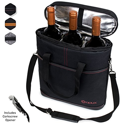 Carrier Wine Insulated Bottle (Premium Insulated 3 Bottle Wine Carrier Tote Bag | Wine Travel Bag with Shoulder Strap, Padded Protection, and Corkscrew Opener | Wine Cooler Bag)