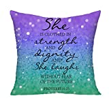 Christian Quotes Glitter Mouse Pad Bible Verse proverbs 31:25 Decorative Throw Pillowcase Cushion Cover Square Cushion Cover for Home or Sofa 22 x 22 Inch