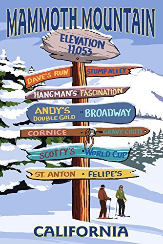 Mammoth Mountain, California - Ski Signpost (9x12 Art Print, Wall Decor Travel Poster) (Ski Vintage Signs)
