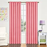 Eclipse Kids Kendall Blackout Window Curtain Panel, 42 by 84-Inch, Coral