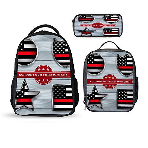 SARA NELL School Bags School Backpack Firefighter Support Flag Badge 3pcs Kids Book Bag Lunch Bags Pen Case Bag For Boys Girls]()