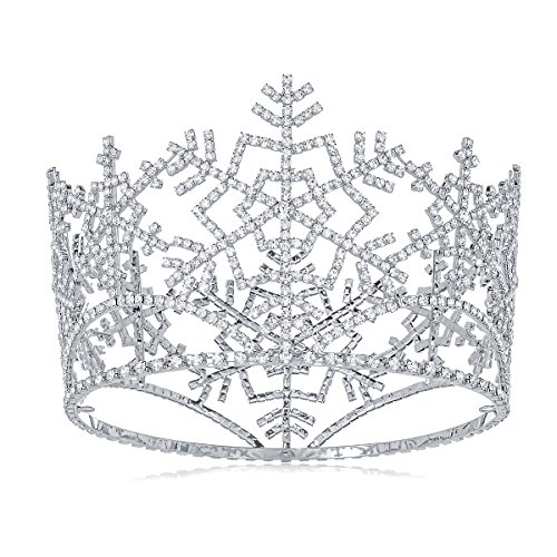 DcZeRong Ice Queen Crown Full Round Snowflake Tiara Adult Women Birthday Prom Pageant Costume (Ice Queen Costume Accessories)