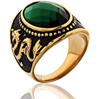 Promsup Chinese Dragon Gold Filled Green Sapphire Emerald Crystal Mens Class Rings sz8-12 (8)