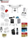 DJI Phantom 4 ADVANCED Quadcopter Drone with 1-inch 20MP 4K Camera KIT + 2 Total DJI Batteries + 2 SanDisk 64GB Micro SDXC Cards + Reader 3.0 + Prop Guards + Charging Hub + Range Extender + Backpack
