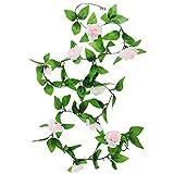 Kobwa(TM) Light Pink Artificial Hanging Vine Silk Rose Flower Garland Home Wall Decoration with Kobwa's Keyring