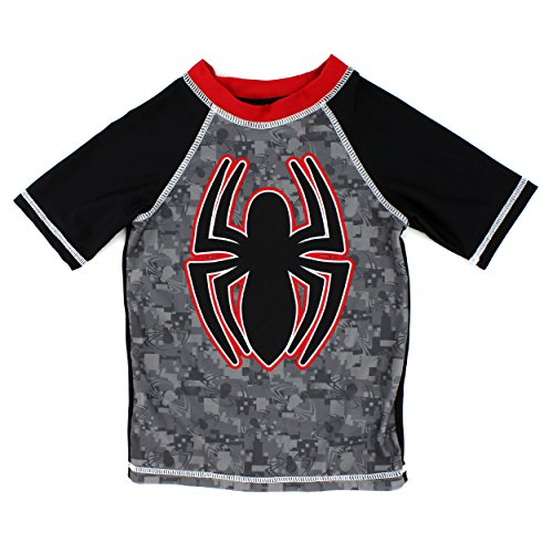 Spider-Man Boys Rashguard Swimwear (4, Spidey Black)