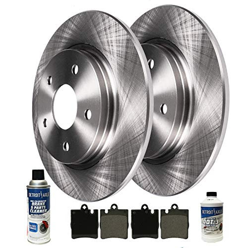 Mercedes C230 Sports Sedan - Detroit Axle - Pair (2) Rear Disc Brake Rotors w/Ceramic Pads w/Hardware & Brake Cleaner & Fluid for 03-07 Mercedes-Benz C230 Sport Package - [03-05 C240 4Matic Wagon Sport Sedan] - 06-07 C280, C350